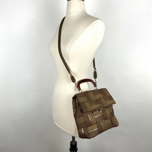 Vintage Made In Italy Brown Gold Woven Weave Bag